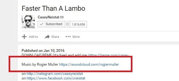 Casey Neistat credits music artist